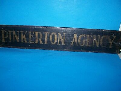 """Antique Authentic Wooden Business Sign"""" Pinkerton Agency"""" Black/gold Letters"""
