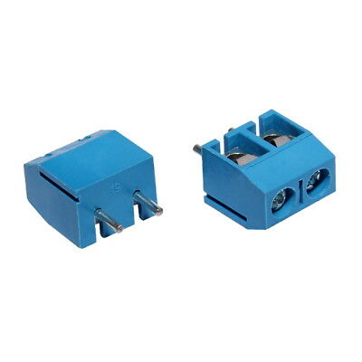 Lot de 10 Bornier a Vis 2-plots Pas de 5.08mm Bleu Pitch Screw Terminal Block