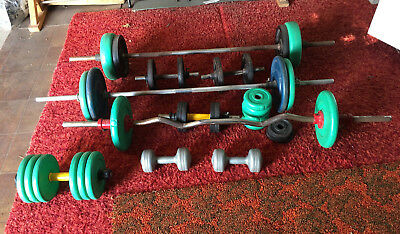 Used Gym Weights / Dumbbell Weight Plates and Bars Bulk Lot
