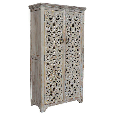 Bengal Manor Mango Wood Hand Carved Open Design 2 Door Tall Cabinet CVFNR353