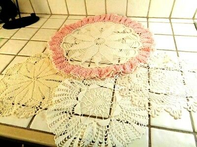 """Vintage Doilies  Crocheted  One Is 18""""  Beautiful"""