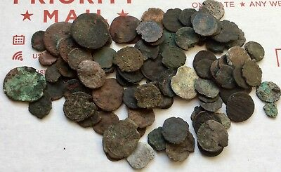LOT OF 100+ UNCLEANED ANCIENT ROMAN AE COINS, LOW GRADE (JUNK) CHIPS etc.