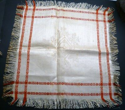 6 VICTORIAN Antique TURKEY RED Stripe DAMASK LINEN Napkins FRINGE