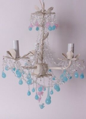 New Pottery Barn Kids Little Birdie chandelier white pink turquoise *plug in*