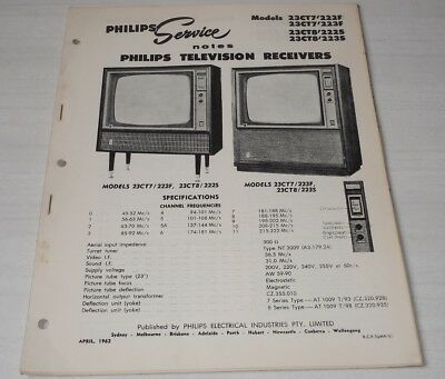 Philips Service Notes TV Televisions 1962 models 23CT7'222F 223F, 23CT8'222S ++