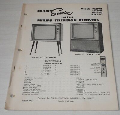 Philips Service Notes TV Televisions 1962 models 7211'01 7213'01 8211'00 8213'00