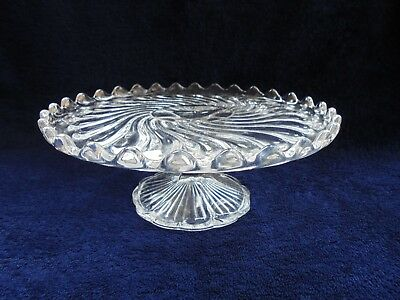 Australian Depression Glass Cake Stand Crown Crystal Glass Whirlpool