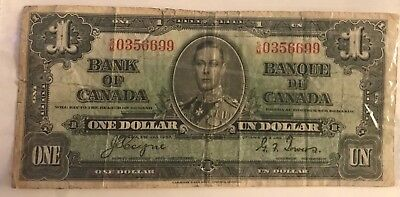 Bank of Canada 1937 $1 One Dollar Coyne-Towers E/N Prefix VF King George VI