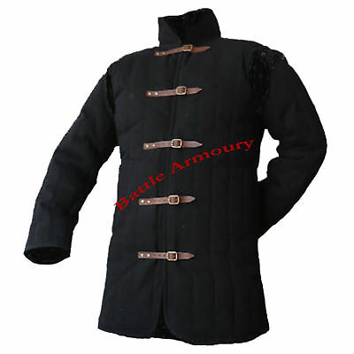 Medieval thick padded Black Gambeson coat Aketon Jacket Armor reenactment new.