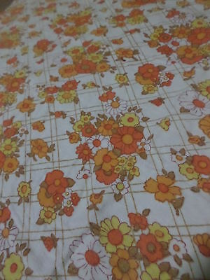 Retro Vintage Orange Yellow And White Floral Flannel Sheet Fabric..
