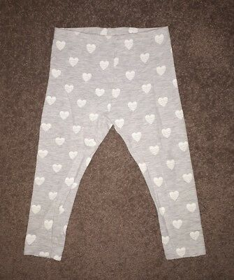 Sprout Girls Pants/Tights, Grey with White Hearts, Size 1