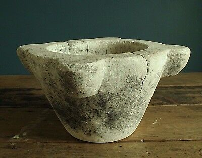Large Antique white Marble Mortar. 19th Century,