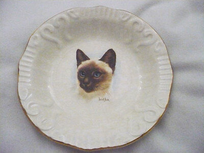 K. Aynsley & Co. fine bone china collectors plate Siamese cat sign Derick Brown