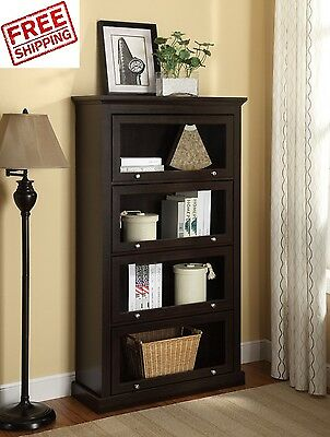 Barrister Bookcase With Glass Doors Cabinet 4 Shelf Organizer Lawyer Antique New