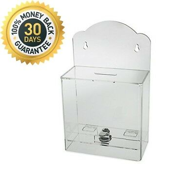 Source One Clear Face Donation Box Ticket Collection Counter Top Wall Mount New