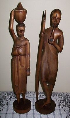 2 x VINTAGE HAND CARVED WOOD TRIBAL NATIVE MAN / WOMAN SCULPTURES 39.5/41cm