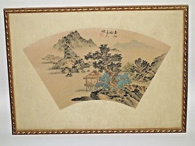 Rare Antique Chinese Fan Original Painting on Silk Fantastic Country Landscape