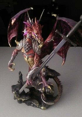 Dragon Statue Large Armored Colorful Medieval Gothic Figure Fantasy