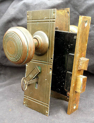 RARE! Antique Vintage Victorian Cast Bronze Door Lockset Knob Plate Lock Set Key