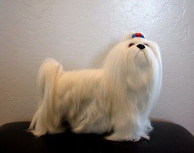 New Standing Shih Tzu handcrafted furry animals made from goat fur D476