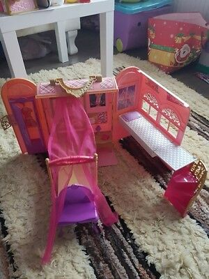 BARBIE HOUSE Folding Bed & Bath Playset Travel Fold N Go Vacation Pink