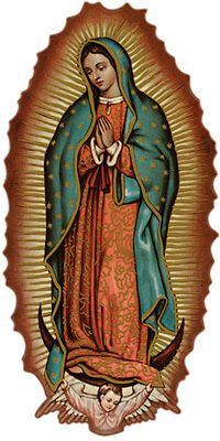 Virgin Mary of Guadalupe Holy Mary Sticker Decal clear Vinyl 120 x 60 mm