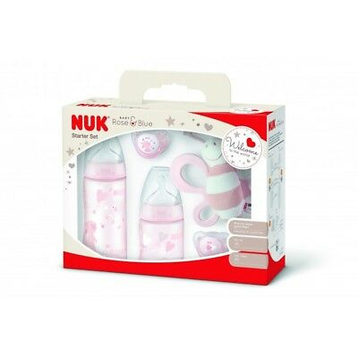 NUK Starter Set Baby Rose y Baby Blue, First Choice Plus Baby Botella, Chupete y