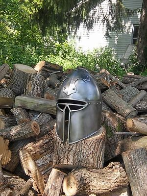 SCA Barbute 18g Hand made Cross-motif helm helmet medieval armour~
