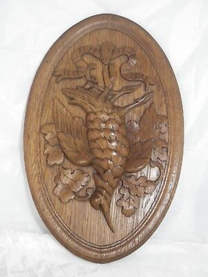 antique french carved architectural panel door wood oak Bird