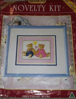 Small Novelty Crewel Embroidery Kit Sweatheart Bears Complete & Unstarted