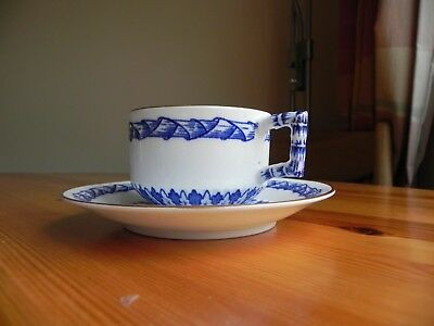 A  bone china blue and white Cup and Saucer made by EJD BODLEY C 1880