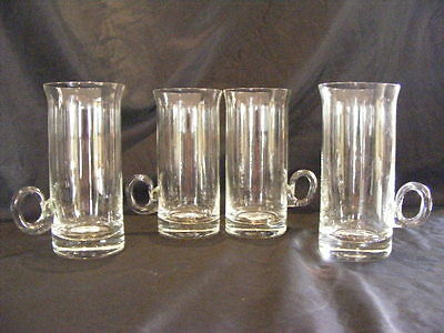 4 Unusual Tall Retro Vintage Glasses - Heavy Based - Finger Grip Handles - VGC