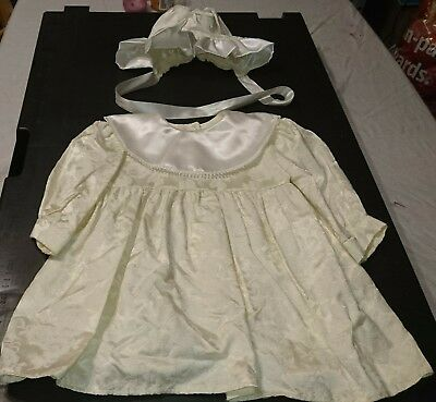 Antique White Christening Gown Dress Baby Girl Boy with Bonnet VGC