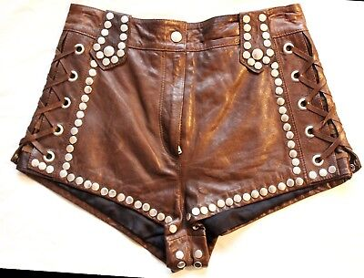 Vtg 70's look Heavily Studded High Waisted Lace up Gladiator Leather shorts UK8