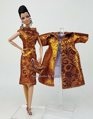 Tiger Pattern Vintage Style Gown Dress Outfit Fits Silkstone Fashion Royalty FR