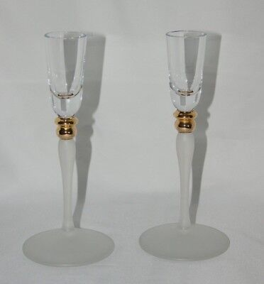 Pair of clear & frosted art glass tall candlesticks candle holders gold detail
