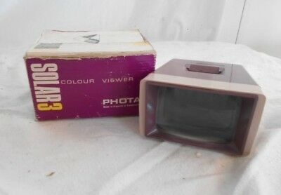 BOXED Retro FULLY WORKING Slide VIEWER by PHOTAX Model SOLAR 3 Brown PLASTIC