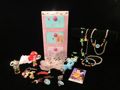 BARBIE JEWELRY BOX FULL metal treasure chest HAIR BOWS BARRETTES NECKLACE & More
