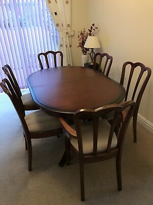 Quality Dining Table Extendable Plus Four Chairs And Two Carver Chairs