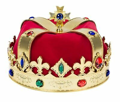 Party King Royal Medieval Red Golden Men Crown Costume Queen Prince Adult Kid