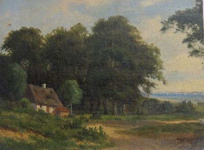 Antique landscape. A summer's day by the forest edge near the sea. Late 1800s