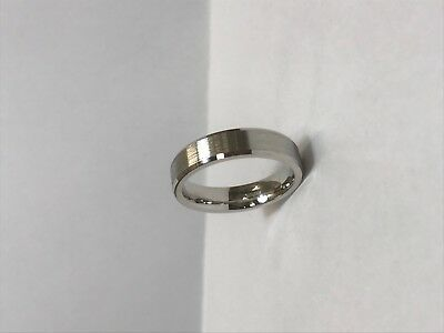 925 Silver White Gold Plated(rhodium) band/Ring Diamond Cut Beveled edge pattern