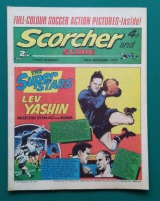 Scorcher and Score comic. 28 October 1972. Lev Yashin Leicester City