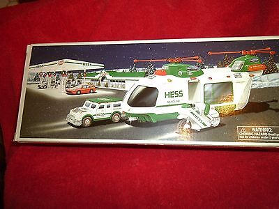 (3) 2001 Hess Toy Truck Helicopter W/ Motorcycle And Cruiser Limited Release NIB
