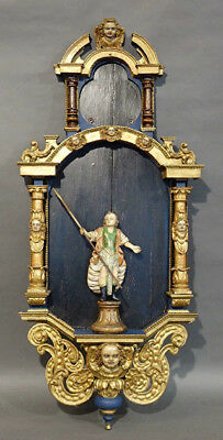 "44""French XVIII Religious Wood carved polychrome Chapel saint putti Saint statue"