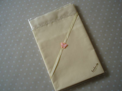 Lovely Smaller Handmade Pale Yellow Baby Sheet & Pale Yellow satin to Top Edge