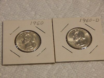 1960 Washington Quarters, P and D,  1 each, UNC