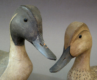 VINTAGE PINTAIL DUCK DECOY MATCHED PAIR CRISFIELD MARYLAND 1970s