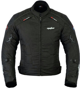 Motorcycle Motorbike Mens Jacket Waterproof Black Textile Black CE Armoured