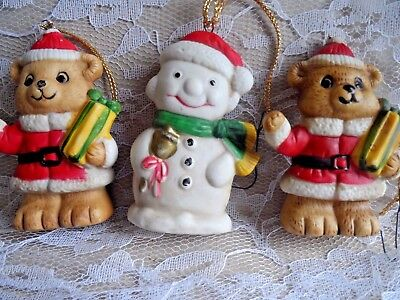 Vintage Christmas Ornaments - THREE CERAMIC ORNAMENTS - 2 TEDDY BEAR & 1 SNOWMAN